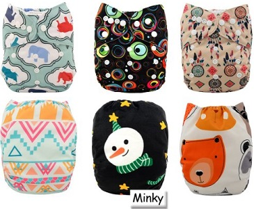 Image: Alva Baby Pocket Washable Adjustable Reuseable Cloth Diapers Nappies 6PCS + 12 Inserts | more absorbent than regular flannel and dries much faster after being washed