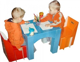 Image: Children's Table and Chair Set - Made of extra strong coated cardboard materials
