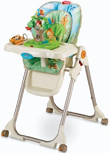 Image: Fisher-Price Rainforest Healthy Care High Chair | entertains baby while mom prepares meal or cleans up