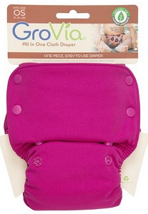 Image: GroVia Organic Cotton All In One (AIO) One-Size Diaper | Stretchy tabs for a perfect fit, no stuffing, no doublers