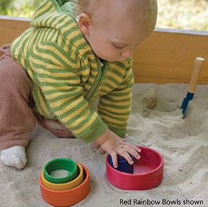 Image: Grimm's set of Wooden Stacking and Nesting Rainbow Bowls - Stacking, Nesting, Sorting and Pretend Play