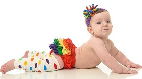 Image: juDanzy rainbow polka dot baby and toddler leg warmers