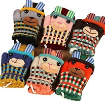 Image: COFFLED(r) Super Cute Lovely Outdoor Activity Double-deck Woolen Gloves Warm Mittens On String Knitted