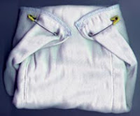 Image: Chinese Prefold Diaper pinned with Dritz diaper pins