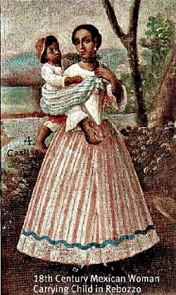 Image: 18th century Mexican woman carrying child in rebozo